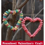 Preschool Valentine Crafts: Fruit Loop Heart Bird Feeder