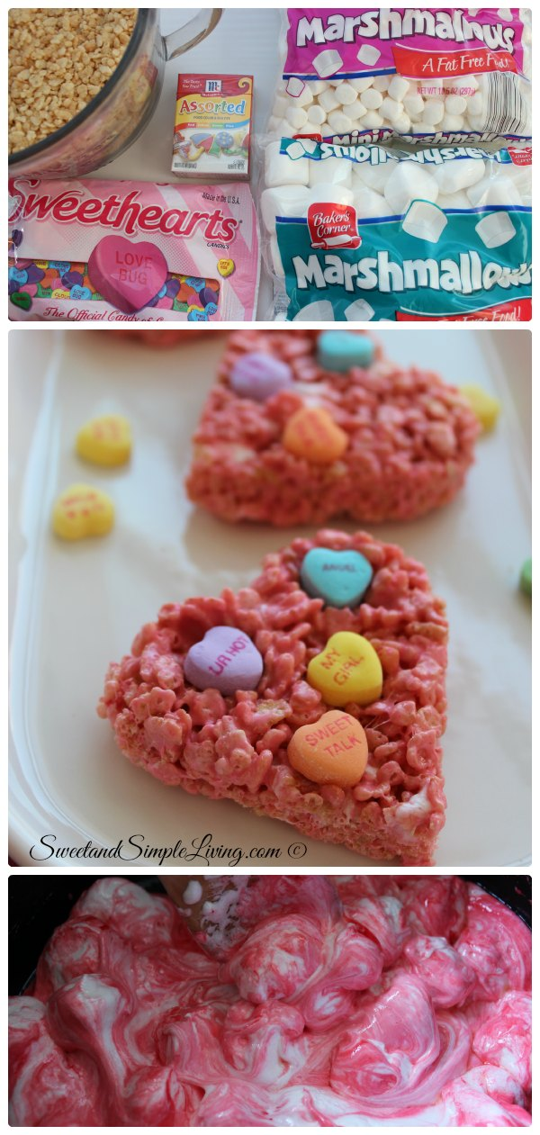 Valentine\'s Day Rice Crispy Treats - Sweet and Simple Living