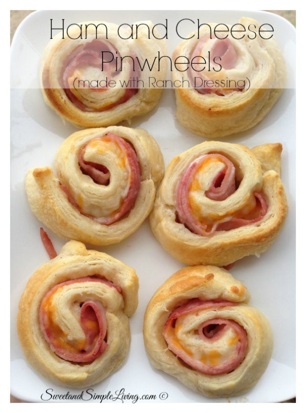 Ham and Cheese Pinwheels with Ranch Dressing