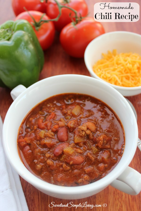 Homemade Chili Recipe Sweet And Simple Living