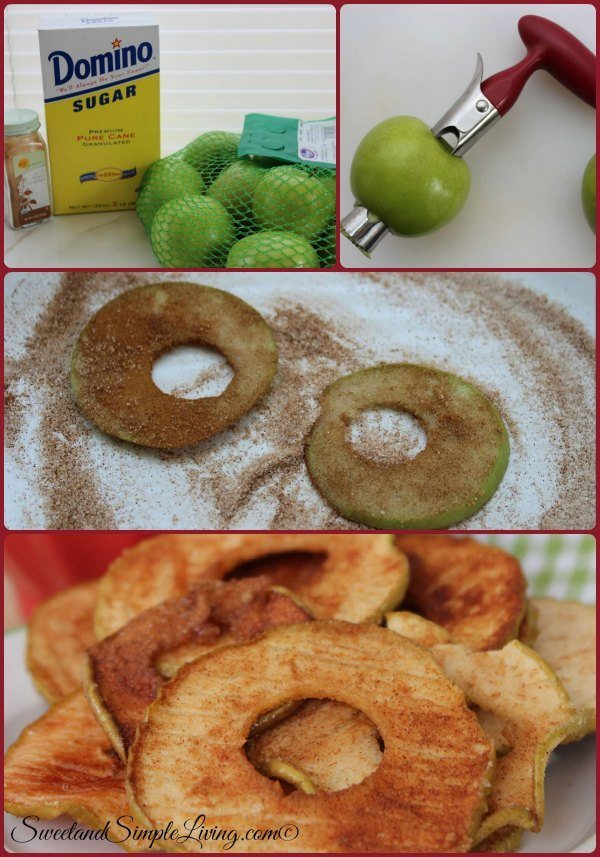 crispy cinnamon apple chips collage