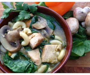 One Pot Meal Idea:  Hearty Chicken and Spinach Soup