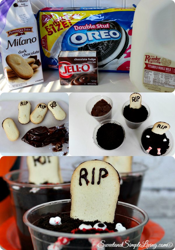 easy graveyard pudding cups