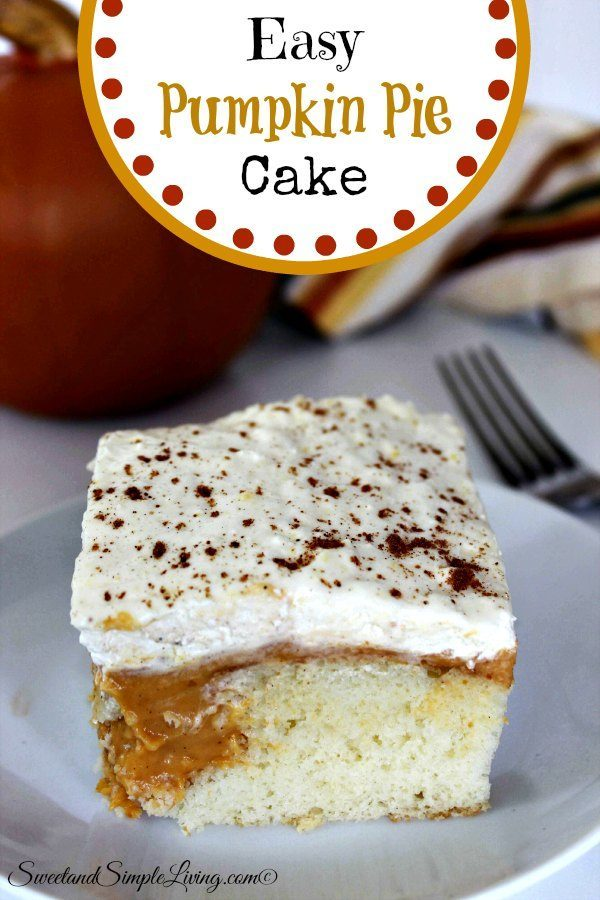 Easy Pumpkin Pie Cake - Sweet and Simple Living