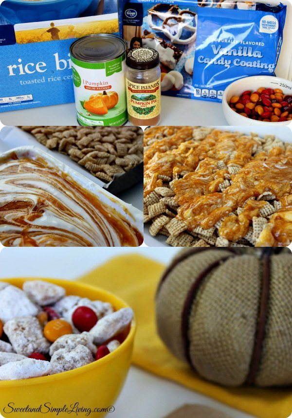 pumpkin pie snack mix collage