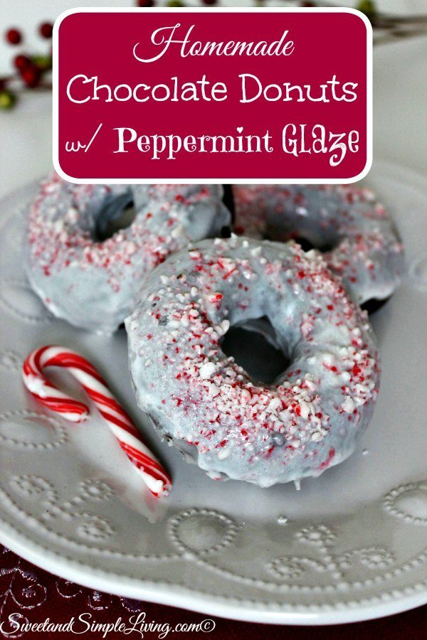 homemade chocolate donuts with peppermint glaze
