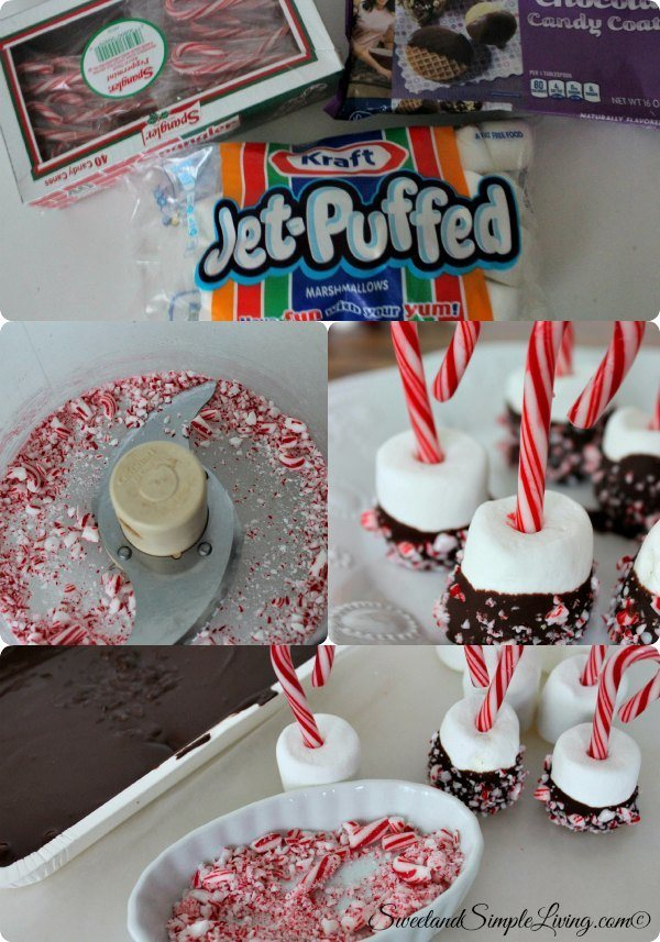chocolate dipped peppermint marshmallows