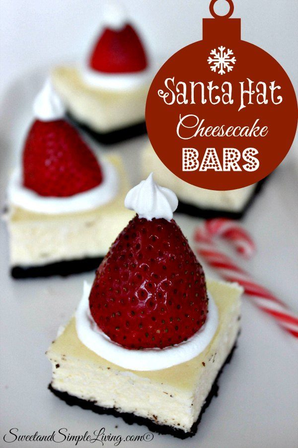 santa hat cheesecake bars