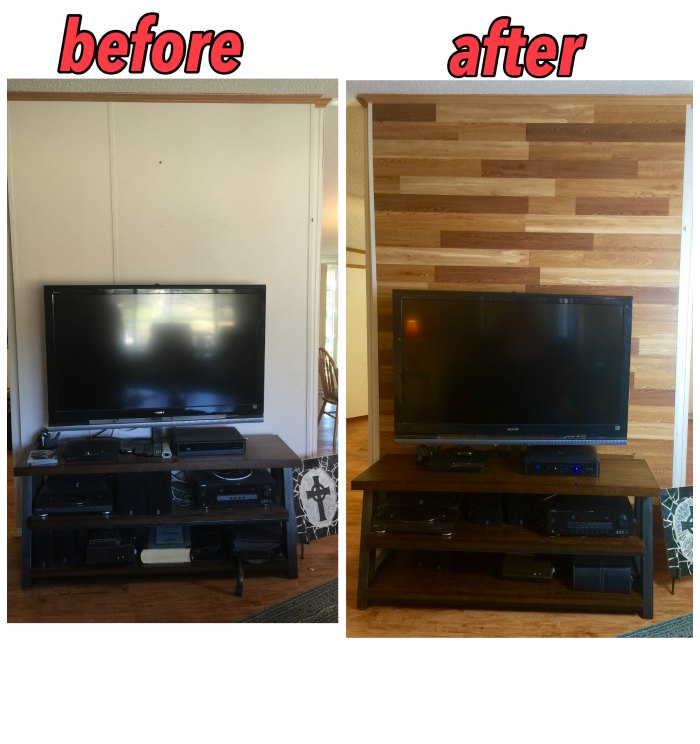 Before and after photos of faux pallet wall