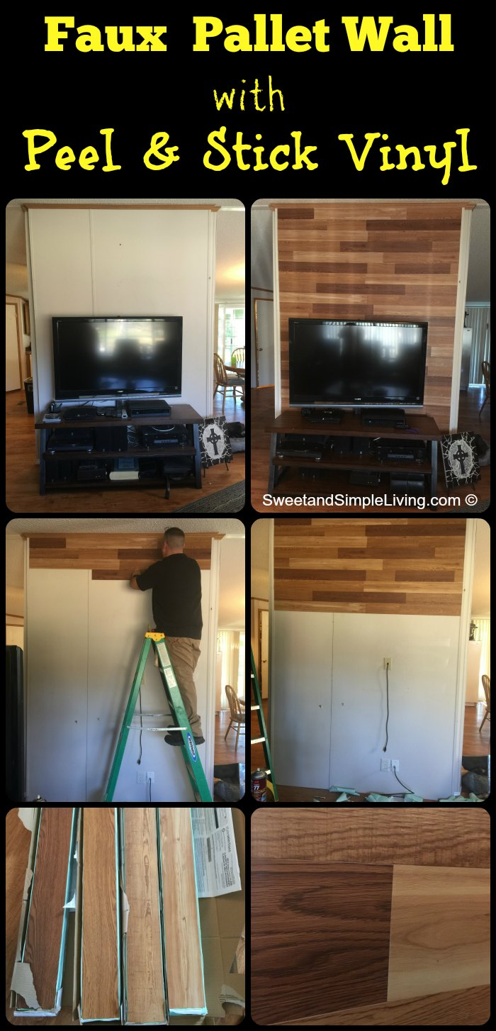 Faux Pallet Walls Using Adhesive Vinyl Sweet And Simple