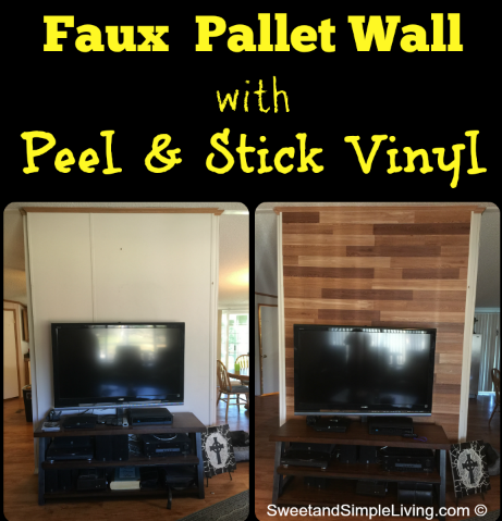 Faux Pallet Walls with Adhesive Vinyl