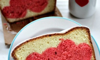 surprise heart pound cake