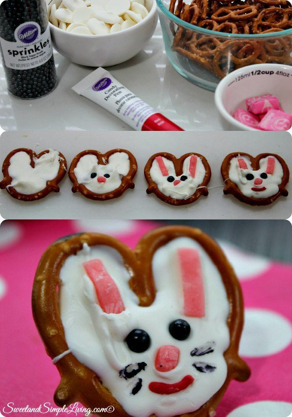 chocolate pretzel bunnies