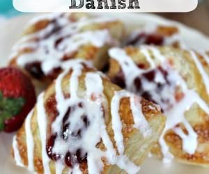 Glazed Strawberry Cream Cheese Danish