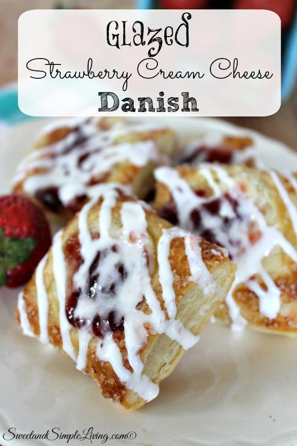 glazed strawberry cream cheese danish