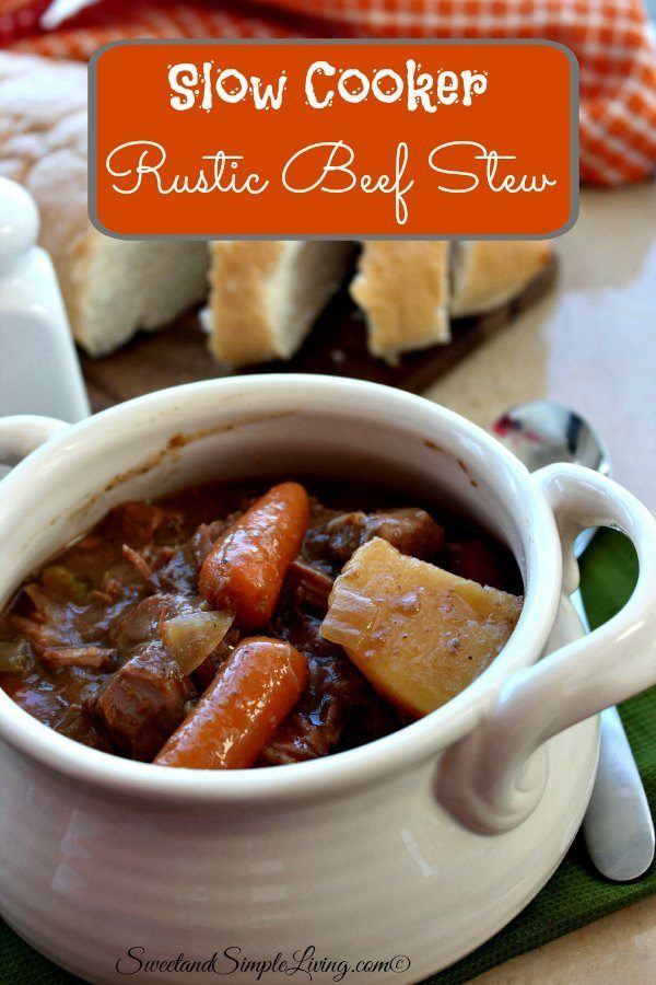 Slow Cooker Rustic Beef Stew! Quick and Easy!