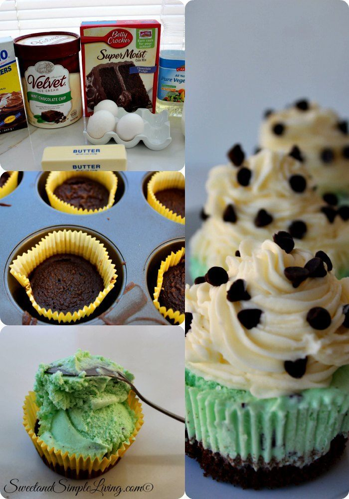 mint chocolate chip ice cream cupcakes