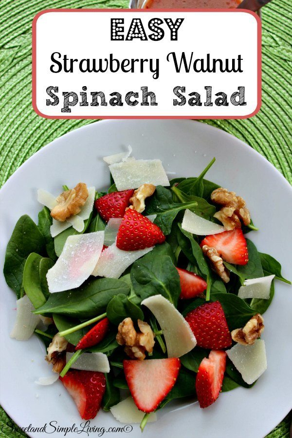 Easy Strawberry Walnut Spinach Salad Recipe