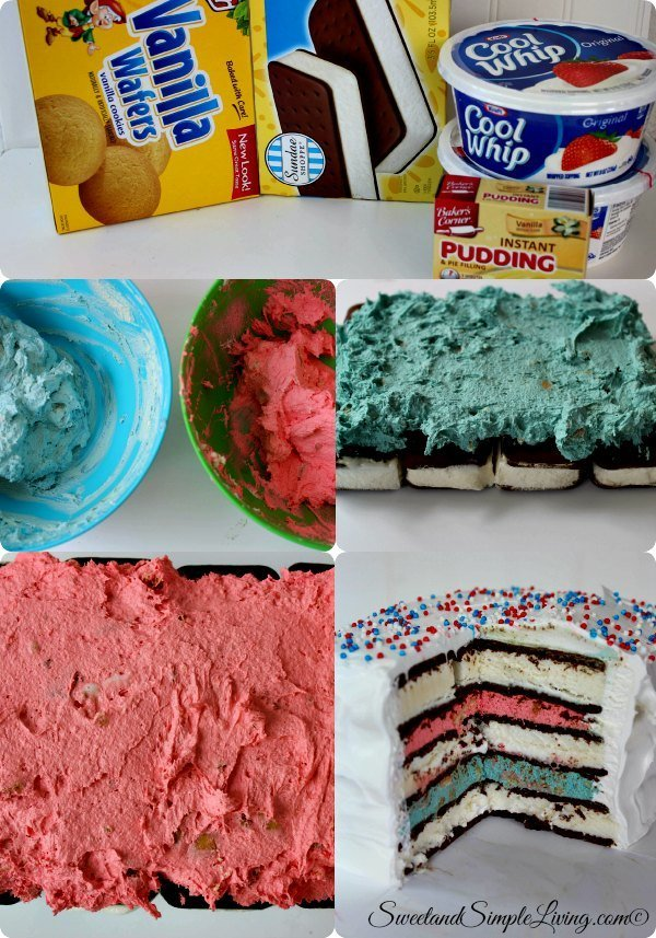 patriotic ice cream sandwich cake