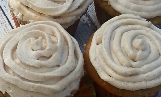 honey and cinnamon frosted banana cupcakes done