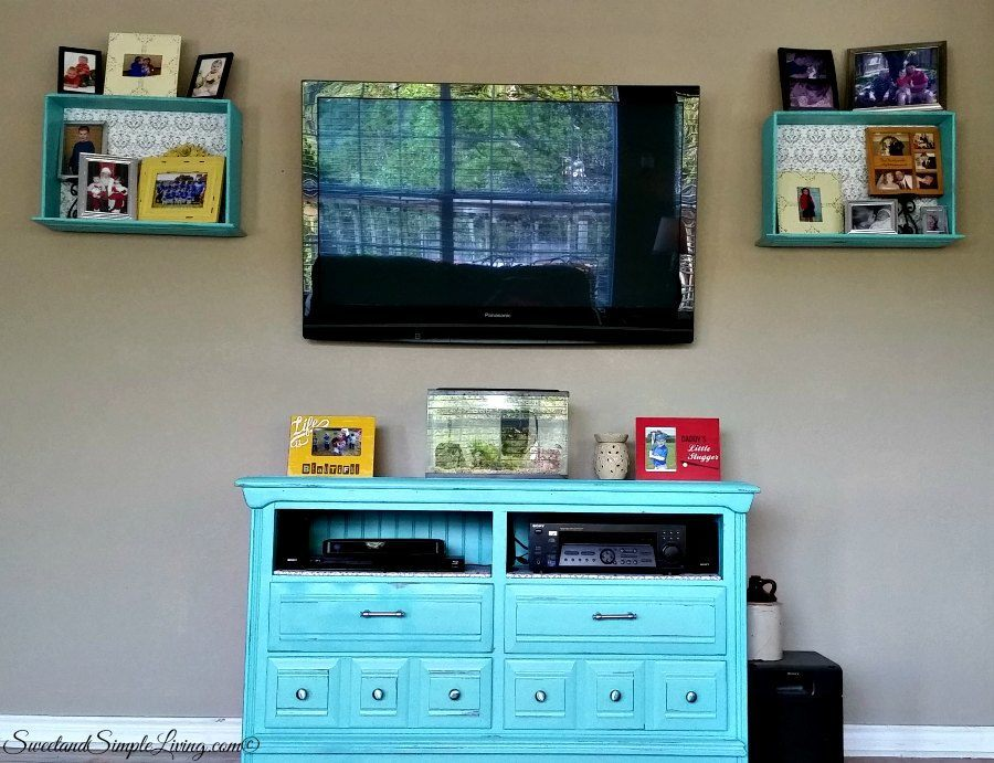 upcycled drawers to shelves