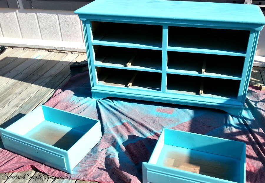 upcycled drawers to shelves painted