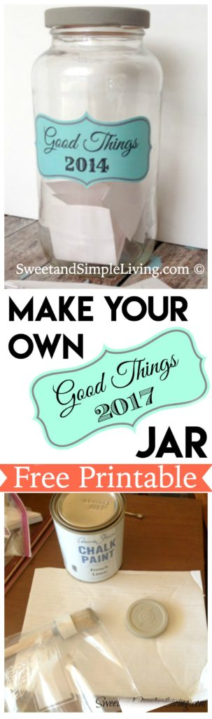 2017 Good Things Jar Free Printable Label